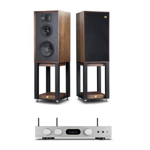 Audiolab 6000A Play erősítő + Wharfedale Linton Heritage hangfal, szettben - ezüst/dió