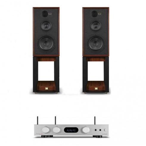 Audiolab 6000A Play erősítő + Wharfedale Linton Heritage hangfal, szettben - ezüst/mahagóni