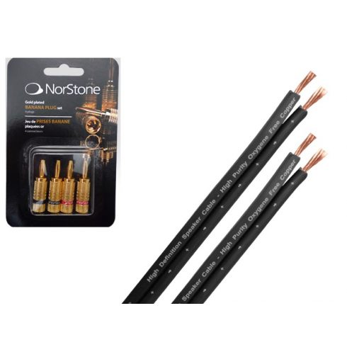 NorStone Classic B250 hangsugárzó kábel  - 6 méter + 1 szett NorStone aranyozott banándugó
