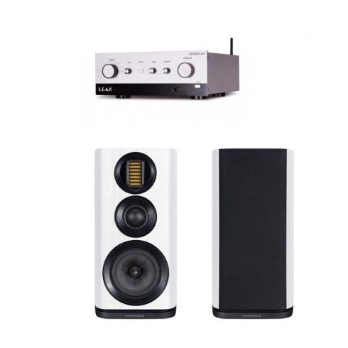 LEAK Stereo 130 sztereó erősítő + Wharfedale EVO 4.2 hangfal szettben, ezüst/fehér