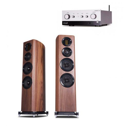 LEAK Stereo 130 sztereó erősítő + Wharfedale EVO 4.4 hangfal szettben, ezüst/dió