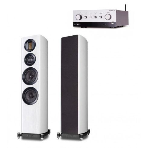 LEAK Stereo 130 sztereó erősítő + Wharfedale EVO 4.4 hangfal szettben, ezüst/fehér